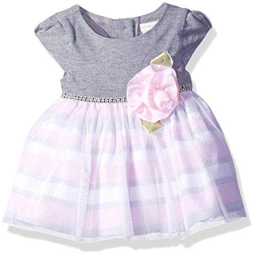 [Sweet Heart Rose Little Girls Sparkle Knit To Striped Shantung Dress, Grey/Pink, 12 Months] (Sweetheart Girl)