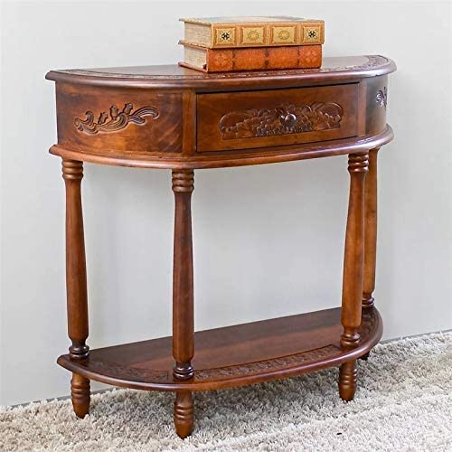 BOWERY HILL Half Moon Console Table in Walnut Stain