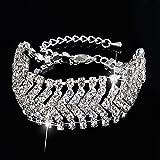 Crystal Bangle Bracelet Bride Rhinestone Bridal Wedding Jewelry Wave