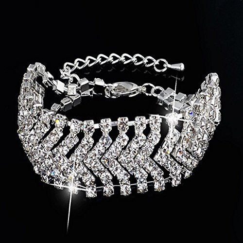 Bangle Wedding Jewelry - Crystal Bangle Bracelet Bride Rhinestone Bridal Wedding Jewelry Wave