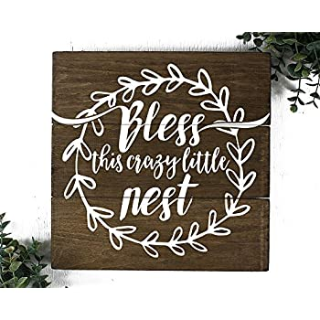 Bless this Nest Wood Sign Farmhouse Decor Sign