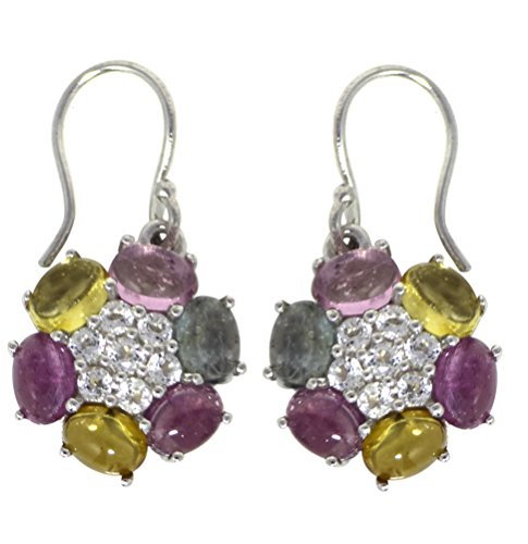 Multi Color Tourmaline and White Topaz 925 Sterling Silver Earrings