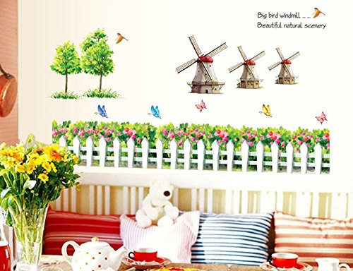 - Homefind Garden Fence Flower Wall Art Butterfly Birdhouse Sayings Big Bird Windmill Beautiful Nature Scenery Quotes Decal Sticker for Living Room Nursery Bedroom