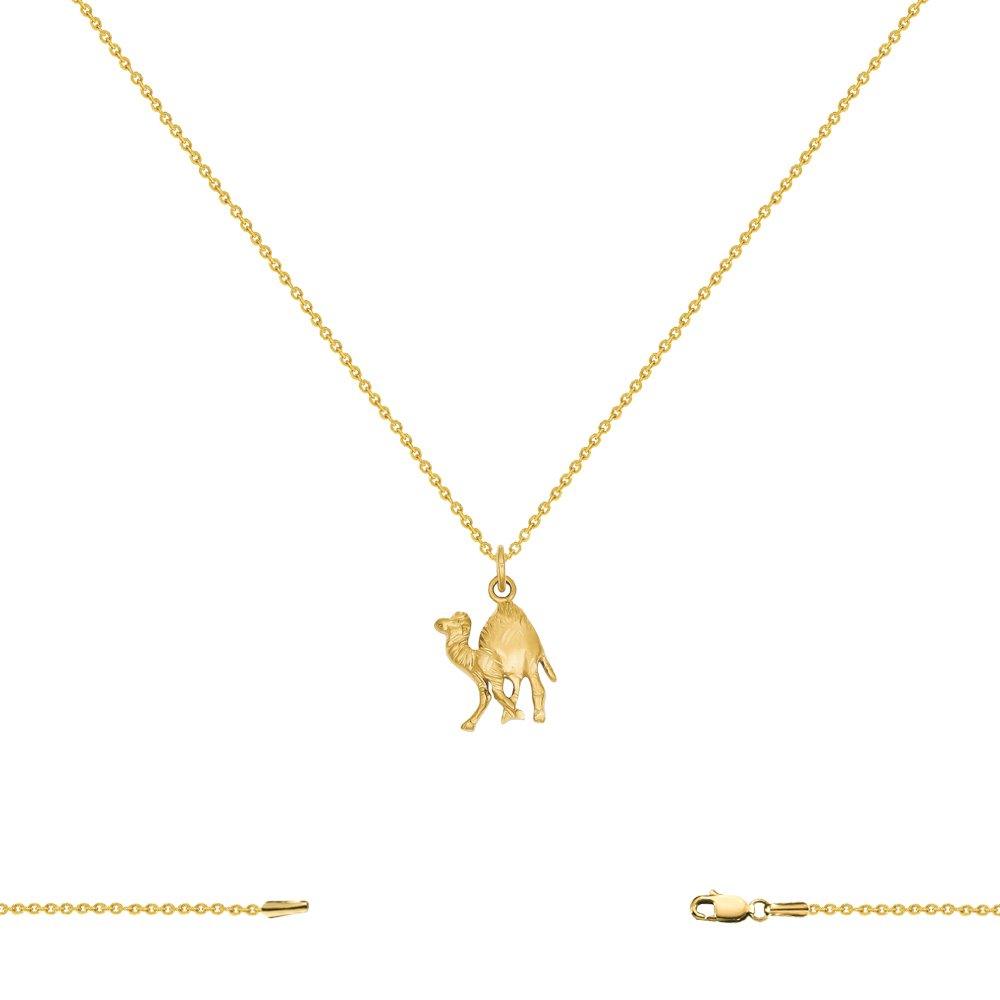 14K Yellow Gold Camel Pendant on an Adjustable 14K Yellow Gold Chain Necklace