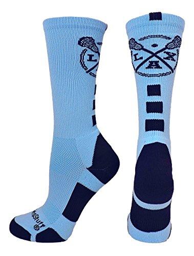 MadSportsStuff LAX Lacrosse Socks with Lacrosse Sticks Athletic Crew Socks (Columbia Blue/Navy, Medium)