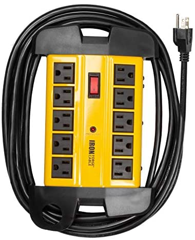 10 Outlet Heavy Duty Surge Protector Power Strip – 14/3 SJT Industrial Black and Yellow Metal Surge Suppressor with 15 Foot Long Extension Cord