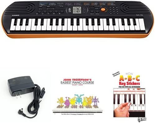 Casio SA76 44 Keys 100 Tones Keyboard bundle with Casio Power Supply