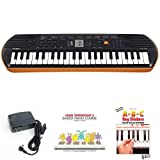 Casio SA76 44 Keys 100 Tones Keyboard bundle with Casio Power Supply, John Thompson\'s Easiest Piano Course and ABC Keyboard Stickers