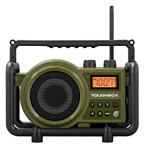 10. Sangean TB-100 (Toughbox) AM/FM/AUX-In Ultra Rugged Digital Tuning Rechargeable Radio (Green)