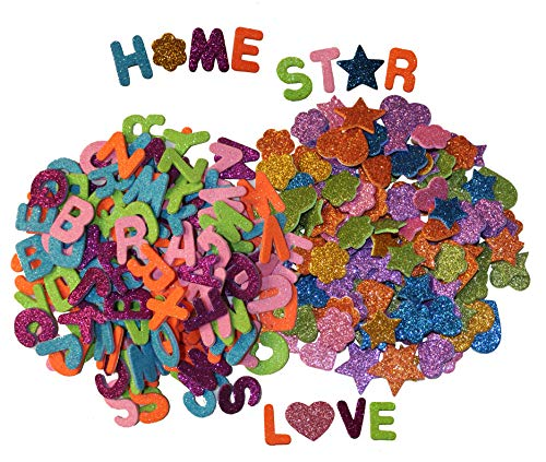(Letters and Shapes Foam Glitter Stickers (Pack of 280) Self Adhesive - Assorted Colors Kid's Arts Craft Supplies for Greeting Cards Home Decoration - Hearts, Stars, Flowers | 130 Letters & 150 Shapes )