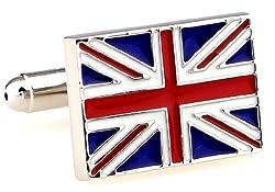 MRCUFF United Kingdom Flag Great Britain Union Jack Pair Cufflinks in a Presentation Gift Box & Polishing Cloth