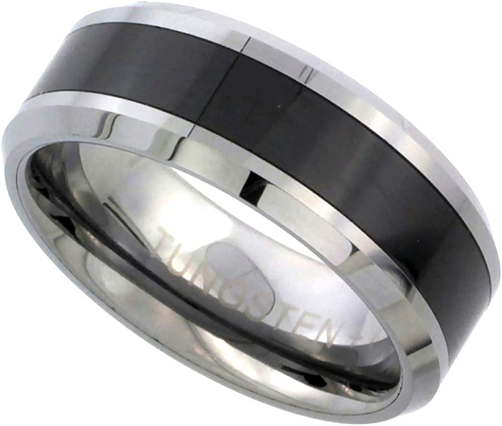 Sabrina Silver Tungsten Carbide 8 mm Flat Wedding Band Ring Black Ceramic Center Stripe Inlay Beveled Edges, Sizes 9 to 14