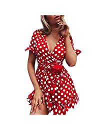 HHmei Women Sexy Wave Point Ruffles V-Neck Ruffles Fork Mini Dresses with Belt