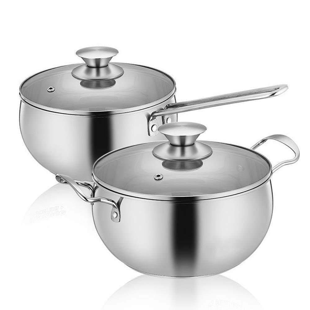 HHFZH Multi-Function Pot Set 2 Sets, Stock Pot, Tainless Steel Pot, Soup Pot, Milk Pot,Double Bottom Thickened Kitchenware