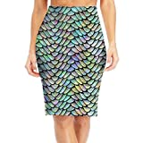 Retro Mermaid Scale Women's Elastic Waist Stretch Bodycon Pencil Skirt S