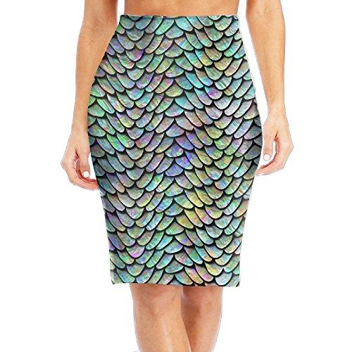 Retro Mermaid Scale Women's Elastic Waist Stretch Bodycon Pencil Skirt S by Oleasion