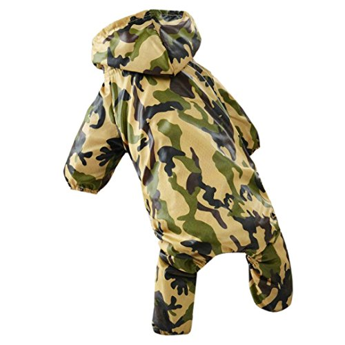 2018 Hot Sale!❤️ZYEE❤️ BIG PROMOTION!Pet Dog Clothes Camouflage Raincoat Hoodie Hooded Rain Coat Small Dogs Pet (S, Green) (Carrier Camouflage Dog)