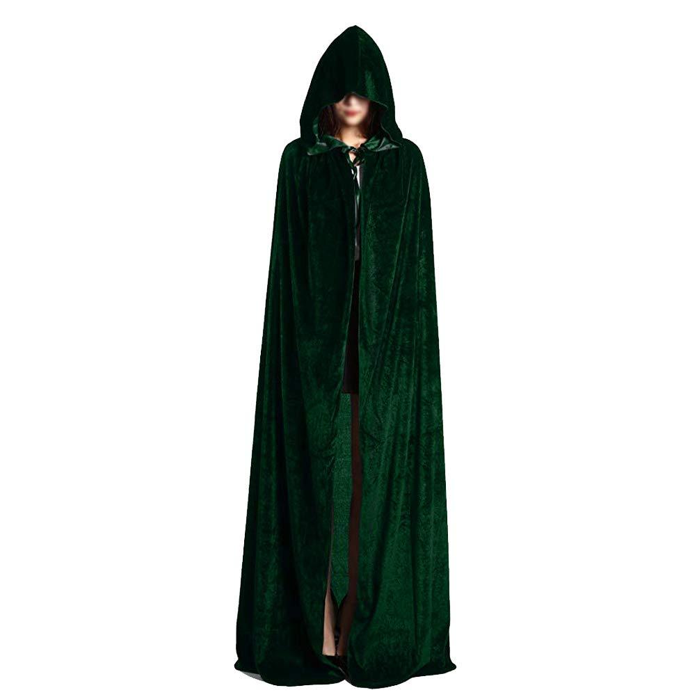 Vankcp Unisex Death Hooded Cloak,Velvet Cloak Cape Hooded Cape for Halloween Christmas Cosplay Costumes