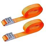 """CARTMAN 1"""" x 12' Lashing Straps up to 600lbs, 2pk Orange"""