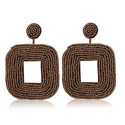 Women's Beaded Drop Earrings Bohemian Beaded Square Hoop Dangle Statement Earrings