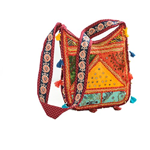 Ankit Red Embroidered Hippie Patchwork Bohemian Handmade Gypsy Crossbody Tote Bag for Grocery Shopping, Beach, School Books ,Work.