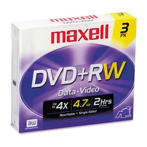 MAXELL 634015 / 634043 4.7 GB DVD Plus RW Media, 3-Pack