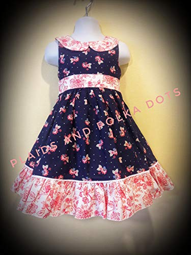 navy floral dress size 3 dress girls flowered dress navy and coral toddler navy dress spring dress floral dress old fashioned dress pioneer dress modest girls dress girls easter dress prairie dress by Plaids and Polka Dots Girls Clothing Boutique