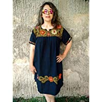 Vestido Casual Mexicano Negro Bordado Floral para Dama Plus Size XL