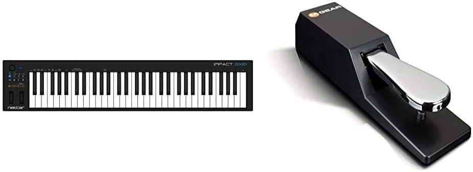 Nektar Impact GX61Controlador USB MIDI de teclado con integración de DAW + M-Audio SP-2Pedal de sostenido universal con tacto de piano para teclados ...