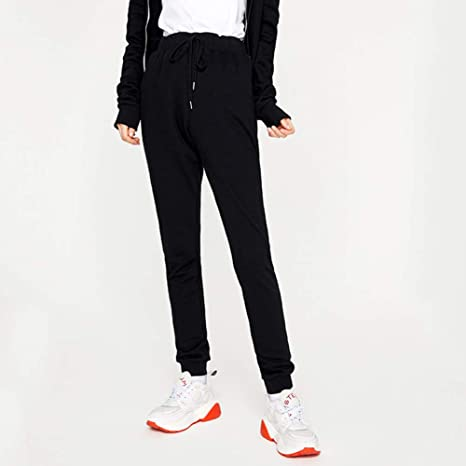WBWANY Pantalones de chándal Mujeres Casual Cintura Alta Cordones ...