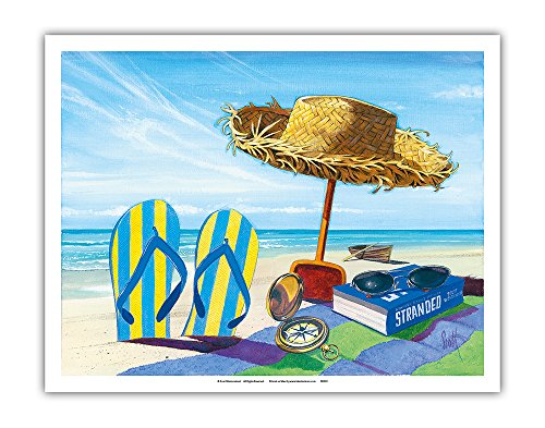 Stranded - Beach Going Essentials: Book, Straw Hat, Sunglasses, Beach Towel, Flip Flops - From an Original Color Painting by Scott Westmoreland - Fine Art Print - 11in x - Sun Scott Glasses