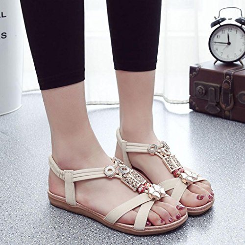 Binmer(TM) Womens Bohemia Sweet Bead T-Strap Thong Sandals Flat Beach Shoes Beige GzsBV