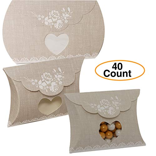 Wedding Favor Candy Box Heart Window Pillow Italian Style (40 Pack)