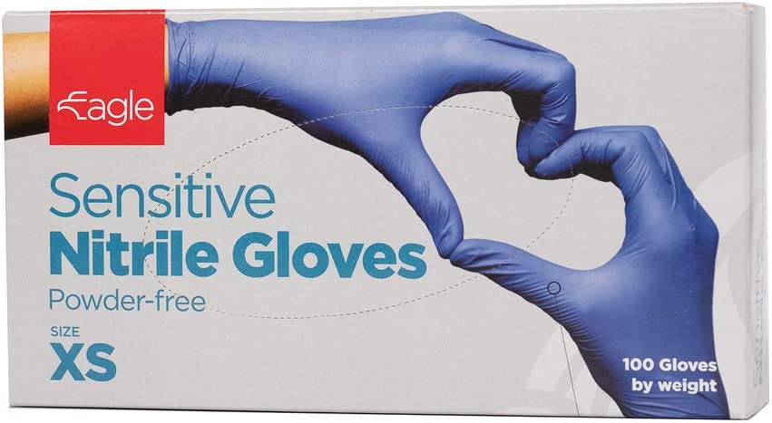 Eagle Protect-Sensitive Nitrile Gloves/FDA Compliant for Food Handling/Multi-Purpose/Latex-Free/Powder-Free/Accelerator-Free/Textured Surface/Indigo Color/Disposable/Long Lasting Box of 100 (X-Small)