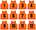 Oso Athletics Sets of 12 (#1-12, 13-24) Premium Polyester Mesh Numbered Jerseys/Scrimmage Vests/Pinnies with Carrying Bag for Children, Youth & Adult Team Sports Soccer, Basketball, Football