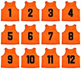 Oso Athletics Set of 12 Premium Mesh Numbered Scrimmage Vest Pinnies Team Practice Jerseys for Children, Youth, and Adult Sports Basketball, Soccer, Football, Volleyball, Lacrosse (Orange, Youth)