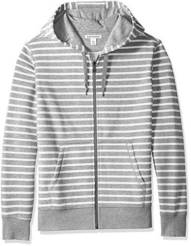Amazon Essentials Men's Patterned Full-Zip Hooded Fleece Sweatshirt, Grey Heather Stripe, ()