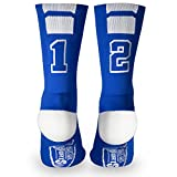 Custom Team Number Crew Socks | Athletic Socks by ChalkTalkSPORTS | Blue | 12
