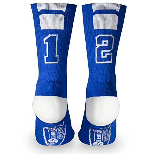 Customs For Women (Custom Team Number Crew Socks | Athletic Socks by ChalkTalkSPORTS | Blue |)