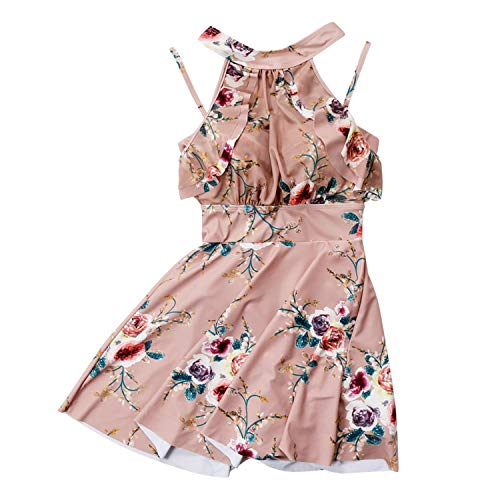 Cute Floral High Neck Bandage One Piece Swimwear Skirt Bathing Suit Women Swimsuit Beach - Off Island Guadalupe