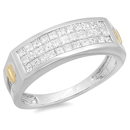 Dazzlingrock Collection 1.15 Carat (ctw) 14k Princess Diamond Invisible Mens Ring, White Gold, Size 10