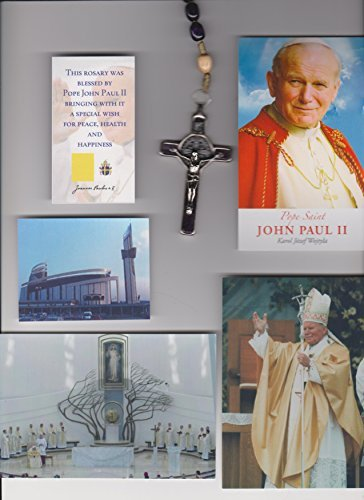 Saint Benedict 3 Crucifix Purple Wood Rosary Blessed by Pope John Paul II on 8 17 2002