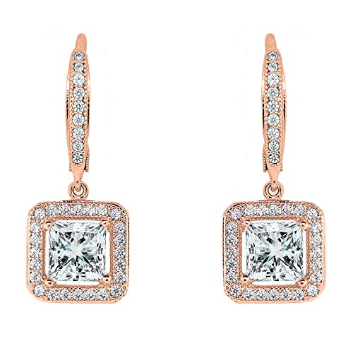 Cate & Chloe Ivy Faithful 18k Rose Gold Princess Cut Drop Earrings with Cubic Zirconia Crytals, Women's Gold Plated Earrings, Dangle Earrings for Women, Wedding Anniversary Jewelry