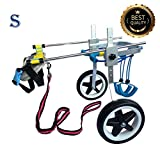 New! Two Wheels Adjustable Dog Wheelchair, cart, 7 Sizes for hind Legs Rehabilitation, 3D Soft Harness,Light Weight, Easy Assemble, Belly Band Specially for Spondylitis (4.New-S)