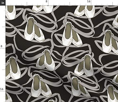 (Spoonflower Ballet Fabric - Slippers Dance Pointes Ribbons Shoes Hand Drawn Print on Fabric by The Yard - Velvet for Upholstery Home Decor Bottomweight Apparel)
