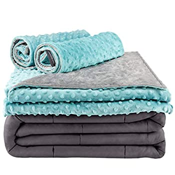 Image of Secura Everyday Luxury Premium Adult Weighted Blanket & Removable Green Minky Cover & 2 Pillowcases (15 lbs 60 x 80 Queen Size, 100% Cotton Material with Glass Beads) Secura Everyday Luxury B07KXPC784 Weighted Blankets