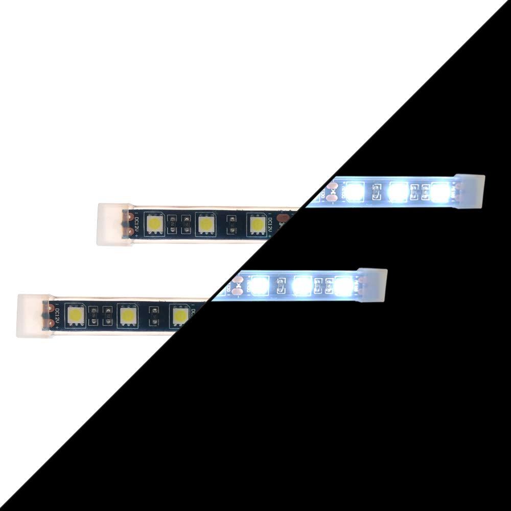 White,2 pcs, 4.5 inch Universal Motorcycle LED Light Flexible Strip Third Brake Light License Plate Tail Brake Stop Turn Signal Running Lights Bright 6 SMD Strip Light