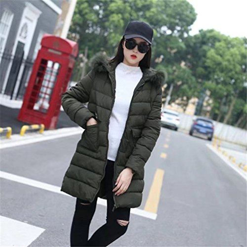 Parzialmente Giacca Eskimo Verde Lungo Pelliccia Inverno Cappuccio Cappotto Donna Imbottito rasato ZhiYuanAN pxwEqYF