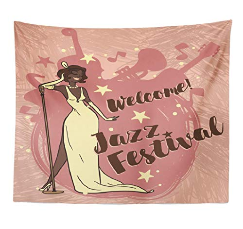 (Lshtar Decorative Tapestry Woman Retro Style Singing Jazz Music Music Jazz Festival Poster Jazz Music Music Lady Band Wall Hanging Tapestry Polyester 80''L x 60''W for Bedroom Living)