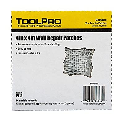 """ToolPro 4 x 4"""" Wall Repair Patches - 10 Pack of Patches"""